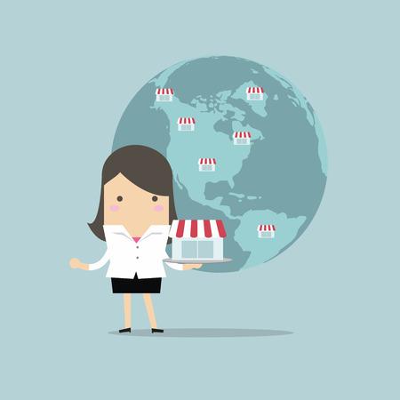 Businesswoman montrer son entreprise sur mondiale, Franchise Concept. Banque d'images - 55924148
