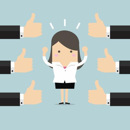 Affaires et beaucoup de mains avec les pouces vers le haut. Aime et le concept de rétroaction positive. Banque d'images - 55924149