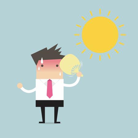 ライト ボックスを見つけると同様画像共有株式のベクトル図にプレビューを保存: ビジネスマンの折り畳みファン打撃と太陽暑い  イラスト・ベクター素材