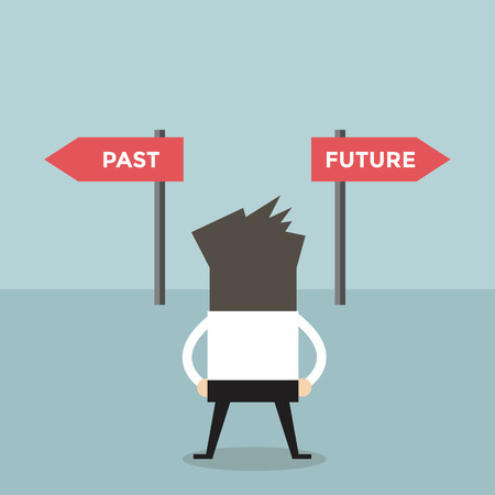 past: Businessman decision about past and future way