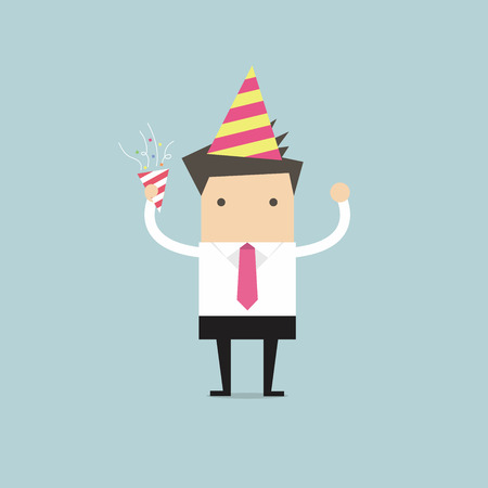 celebration party: Businessman in celebration party, vector
