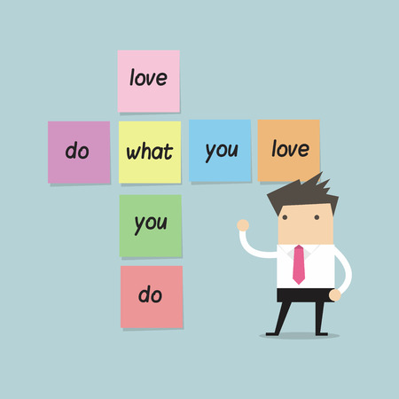 employee satisfaction: Businessman with do what you love sticky note Illustration