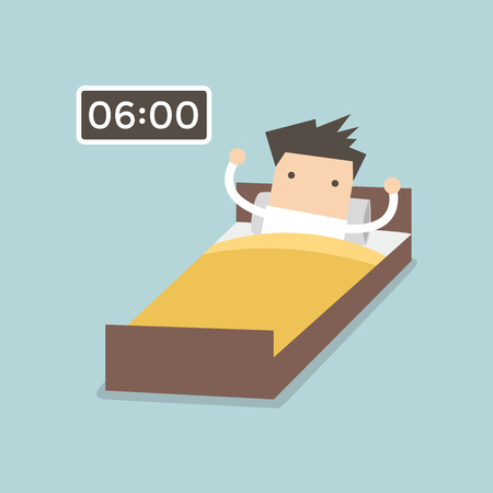 lying in bed: Businessman wake up early. Illustration