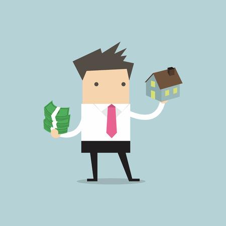 El hombre de negocios que sostiene la casa y dinero