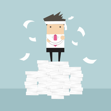 Businessman standing on paperwork vector