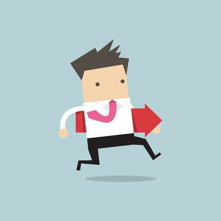 target thinking: Businessman running and hold red arrow