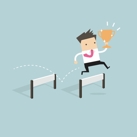 obstacle: Businessman jumping over obstacle and holding trophy vector