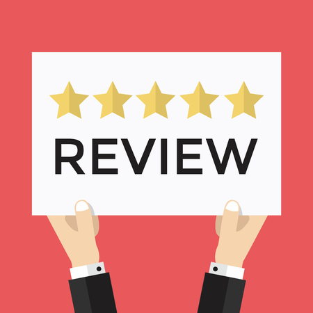 five star: Businessman holding five star review sign, vector