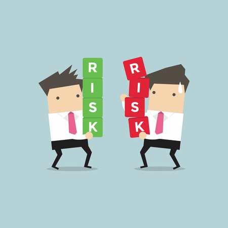 hold high: Two businessman carrying risk blocks. Risk management. Business concept vector