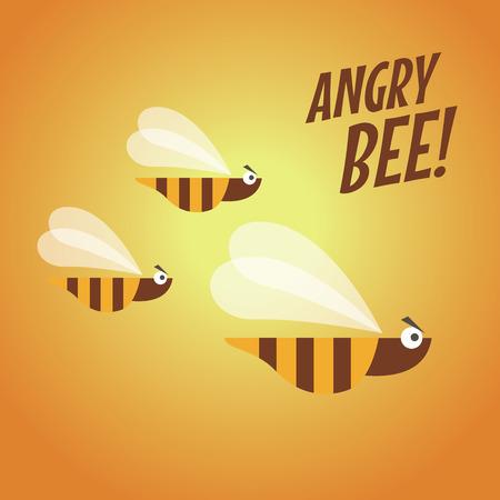 pollinator: Angry bee flat design vector
