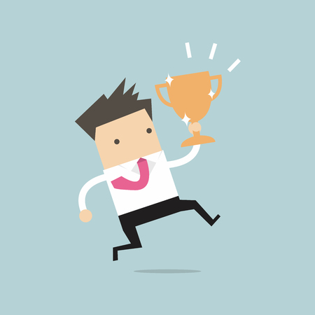 commendation: Businessman jumping and holding trophy vector