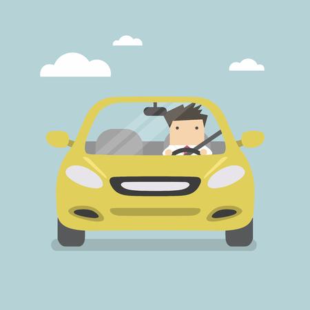 Biznesmen jazdy żółty samochód na drodze Ilustracje wektorowe