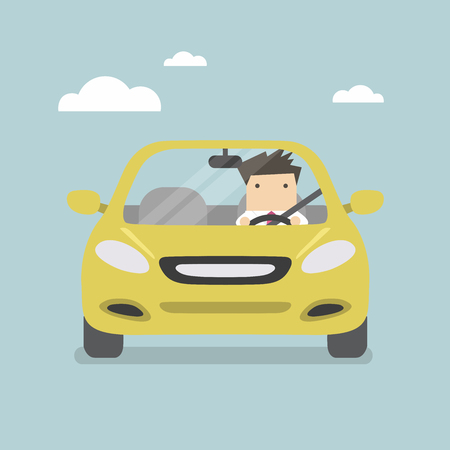 El hombre de negocios que conduce el coche amarillo en la carretera Foto de archivo - 57976149