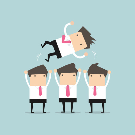 success business: Businessman being throwing up by his teamwork. vector