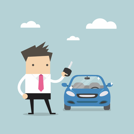 car rent: Businessman holding a key of a new car vector