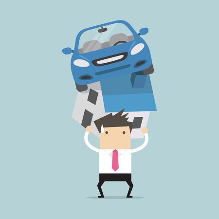 carga: Hombre de negocios con la deuda que lleva un vector de casa y automóvil