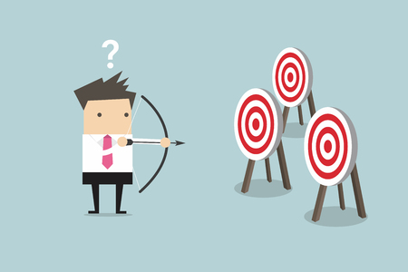 Businessman holding bow and arrow confused by multiple bulls eye target vector Vectores