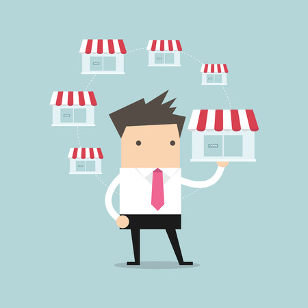 Businessman holding shop and money vector Ilustracja
