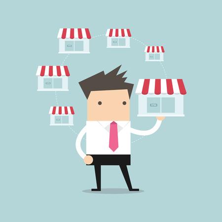 Businessman holding shop and money vector Stock Illustratie