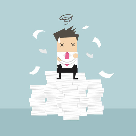 weary: Businessman tried and stressed on paperwork