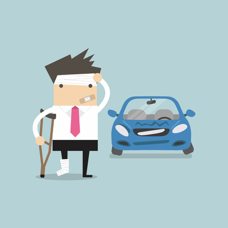 securing: Businessman be injured with car accident vector