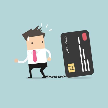 Hombre de negocios con el pie encadenado a la tarjeta de crédito bancaria tratando de escapar. Ilustración de vector