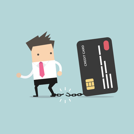 breaks: Businessman breaks free from the chain to bank credit card. Vector
