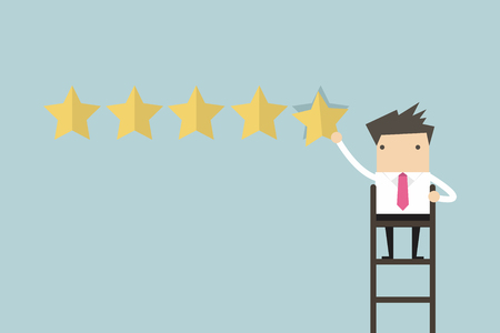 best products: Businessman giving five star rating vector