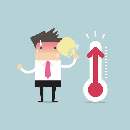 Homme d'affaires très chaud parce que la température accrue Banque d'images - 55924369