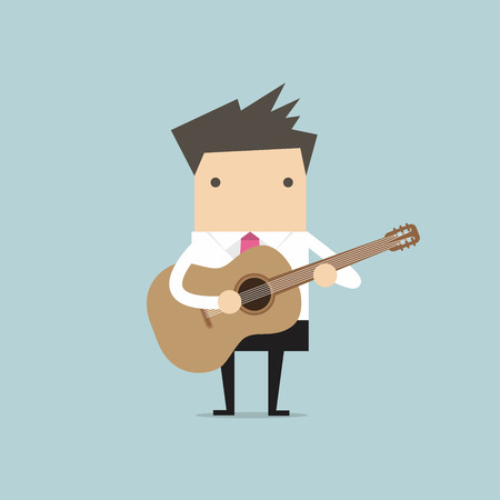 playing guitar: Businessman playing guitar vector