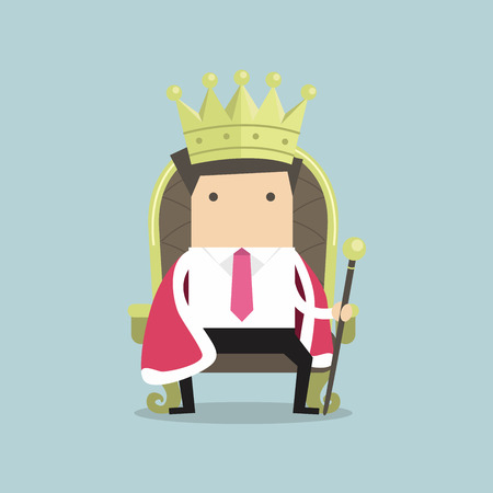 king master: Businessman sitting on the throne with the crown like a king
