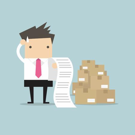 factura: El hombre de negocios confusa vector proyecto de ley Vectores