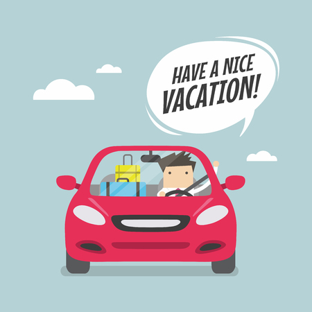 car driver: Joyful businessman traveling by car with suitcases and say Have a nice vacation