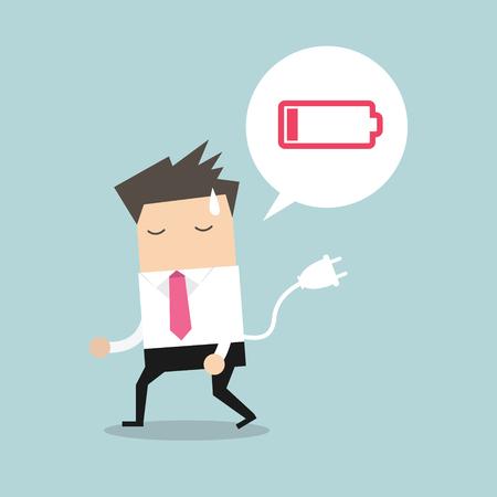 Zakenman die moe en batterij met lage macht voelen. Vector Vector Illustratie