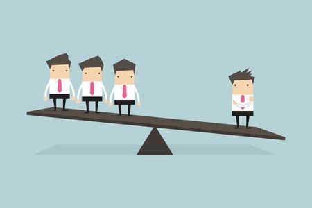 Ein Geschäftsmann auf einer Seite der Waage ist schwerer als viele Führungskräfte auf der anderen Seite.
