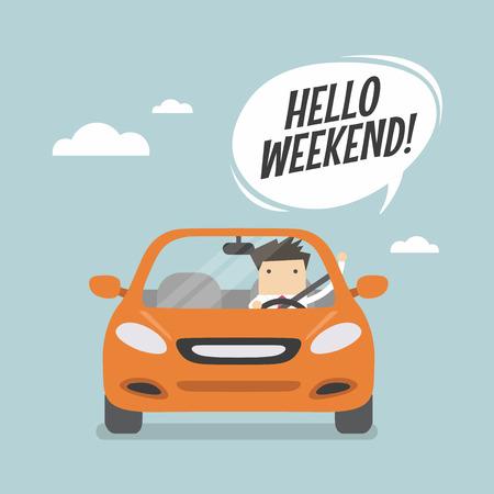 El hombre de negocios que viaja en coche y decir Hola fin de semana.