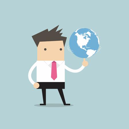 glob: Businessman spinning glob vector Illustration