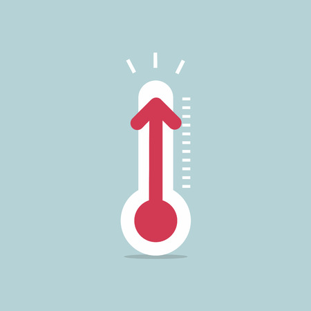 Increased temperature with thermometer Stock Illustratie