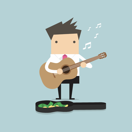 songster: Businessman playing guitar for money vector
