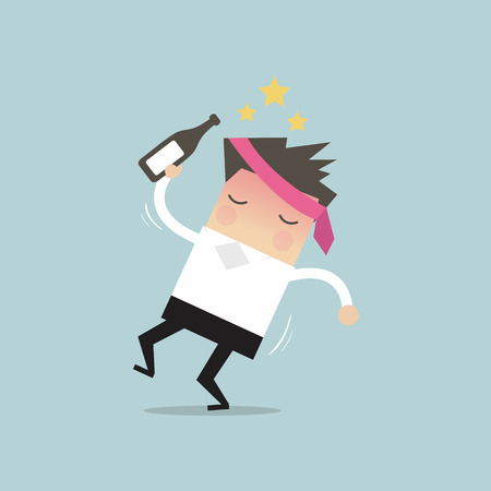 office worker: Drunk businessman with alcohol bottle vector