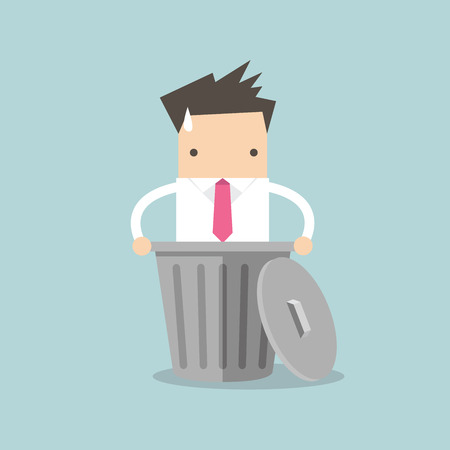 lay down: Businessman dropped into trash. vector Illustration