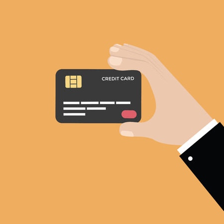 Hand holding credit card, vector Stock Illustratie