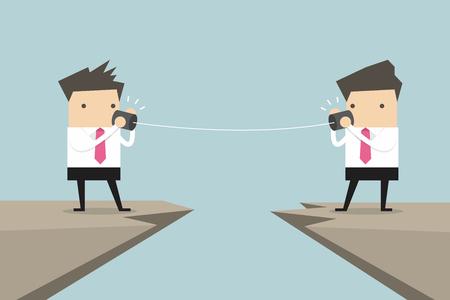 comunicarse: Dos hombre de negocios hablando con la lata en el vector de acantilado Vectores