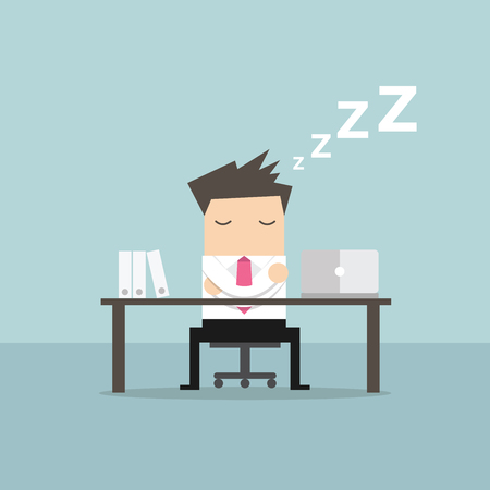 Businessman sleeping at works flat design vector