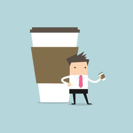 break: Businessman has coffee break. vector