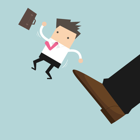 Businessman being kicked out, Layoff concept, removing employee, vector. Иллюстрация