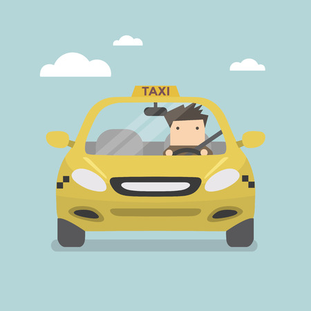 yellow cab: Yellow taxi car and taxi driver vector Illustration
