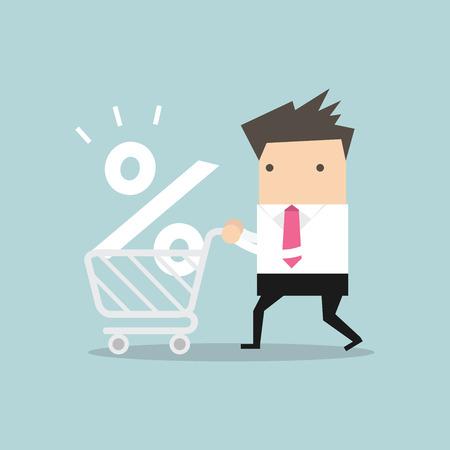Interest Rate Winkelen, Zakenman winkelen voor een goede rente percentage. Vector Illustratie