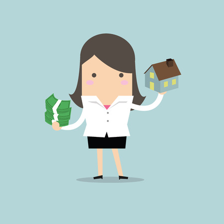 woman holding money: Businesswoman holding house and money