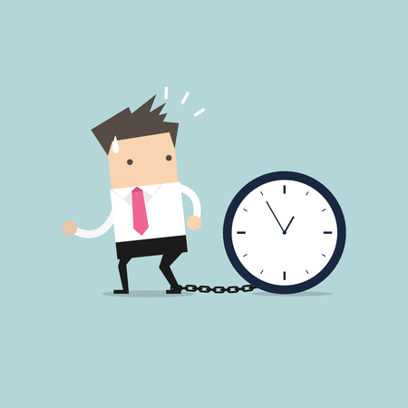 chained: Businessman gets chained with big clock in time concept vector